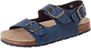 Sandalia azul con hebillas